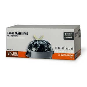 Sure Strength  33 gal. Trash Bags  Drawstring  20 pk