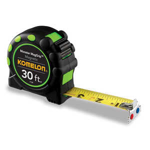 Komelon  Magnetic  30 ft. L x 1 in. W Black  Tape Measure  1 pk