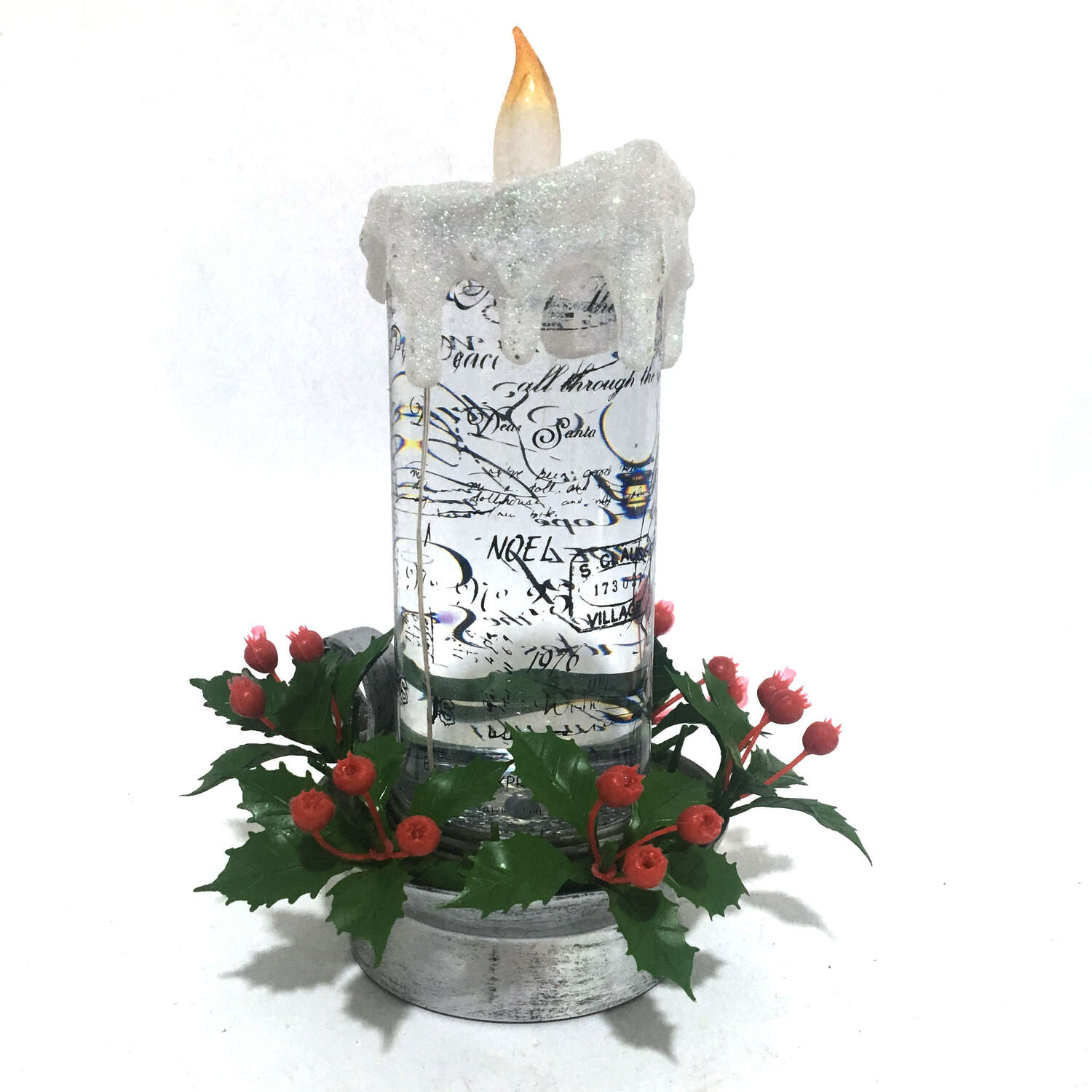 Roman Candle with Pine Wreath LED Christmas Decoration Clear