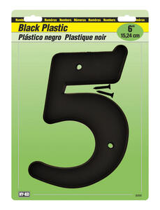 Hy-Ko  6 in. Black  Plastic  Number  5  Mounting Screws  1 pc.