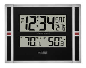 La Crosse Technology  11 in. L x 1-1/8 in. W Indoor  Contemporary  Atomic Wall Clock  Black/Silver