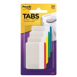 Post-it  Tabs  2 in. W x 1.5 in. L Assorted  Sticky Filing Tabs  4 pad