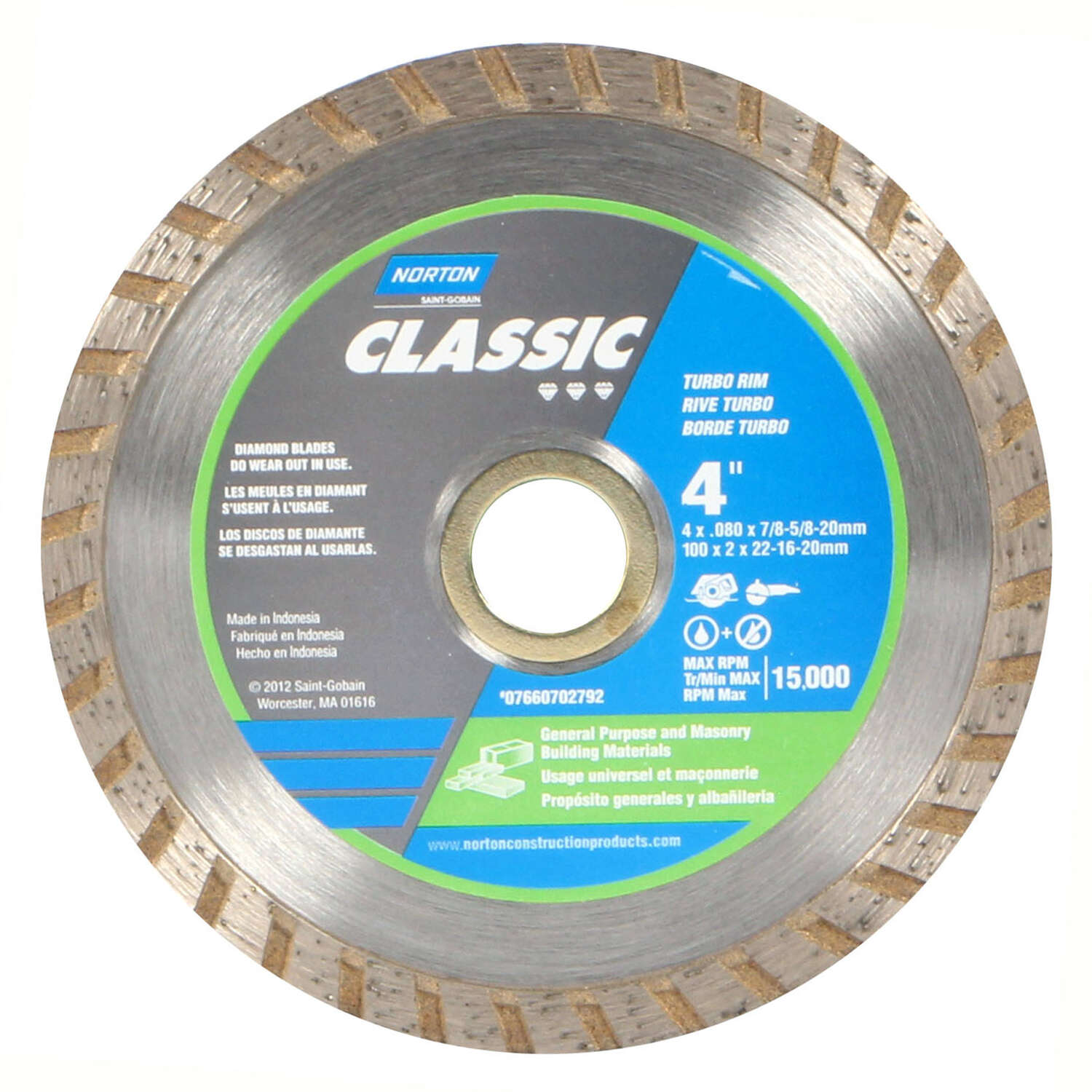 Norton  Classic  4  0.08 in.  Classic  Diamond  1 pc. Turbo Diamond Saw Blade  5/8 and 7/8