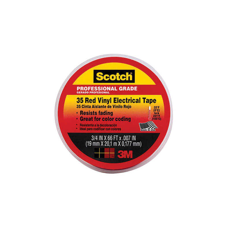Scotch  3/4 in. W x 66 ft. L Red  Vinyl  Electrical Tape
