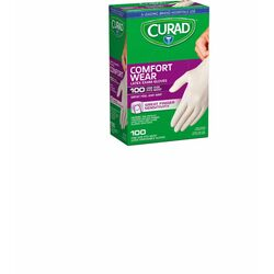 Curad Comfort Wear Latex Disposable Exam Gloves One Size Fits Most White Powder Free 100 pk