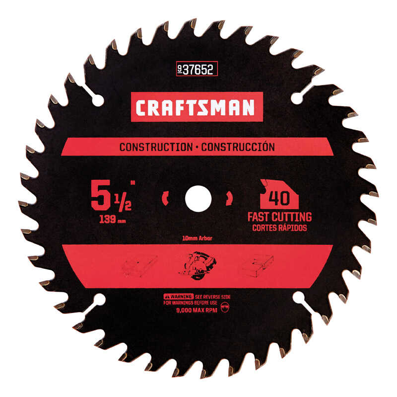 Craftsman  5-1/2 in. Dia. x 0.07 in. thick  Carbide  5/8  40 teeth 1 pc. Circular Saw Blade