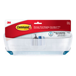 Command  Shower Caddy  4.75 in. H x 4.625 in. W x 11.375 in. L Clear Frosted  Plastic