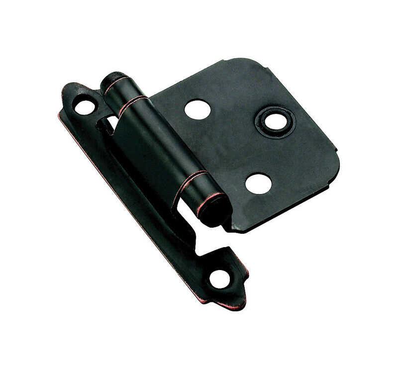 Amerock  1-13/16 in. W x 2-3/4 in. L Oil Rubbed Bronze  Steel  Self-Closing Hinge  2 pk