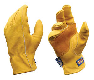 Wells Lamont  Men's  Cowhide Leather  Heavy Duty  Work Gloves  Gold  M
