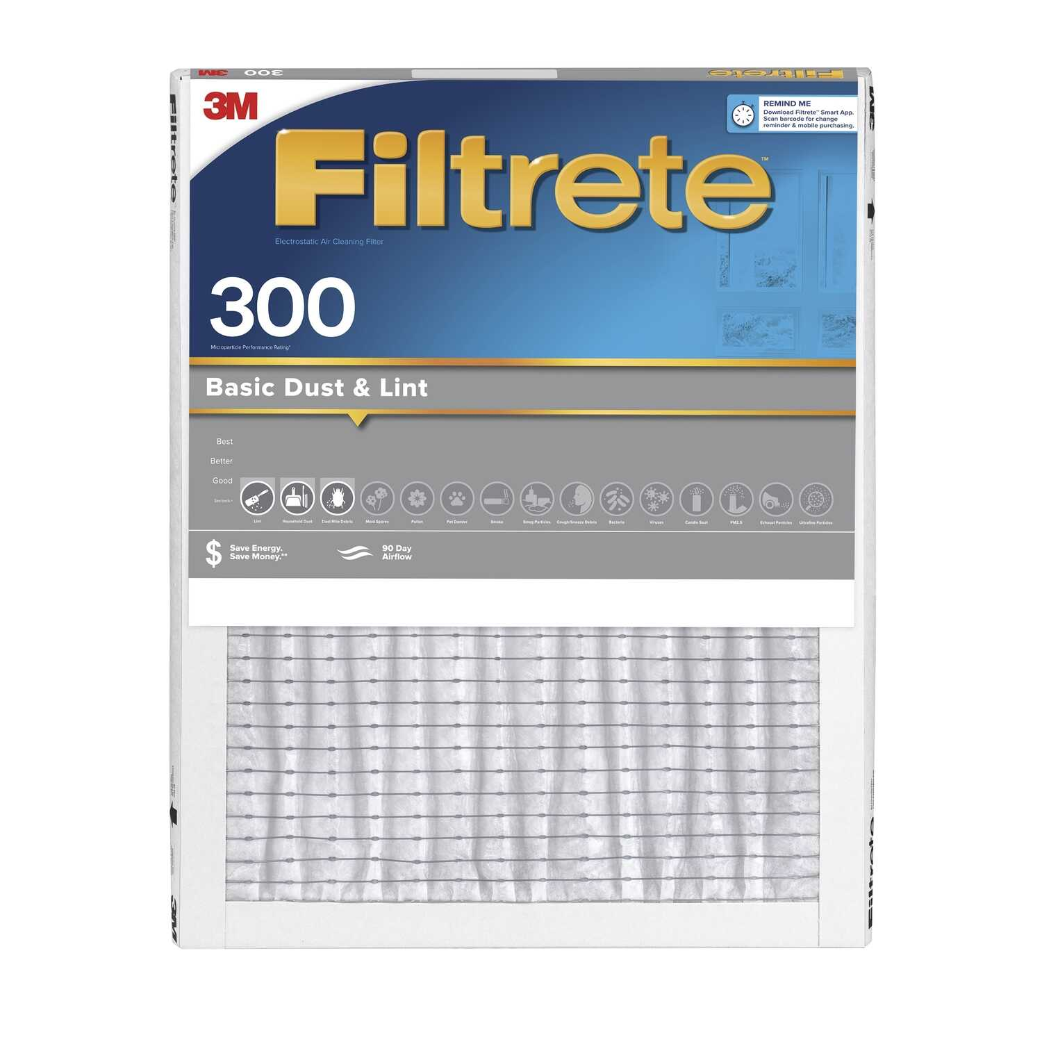 3M  Filtrete  12 in. W x 24 in. H x 1 in. D Air Filter  Pleated