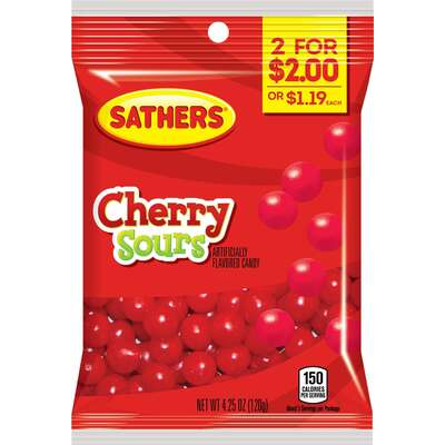 Sathers  Cherry  Sour Balls  4-1/4 oz.