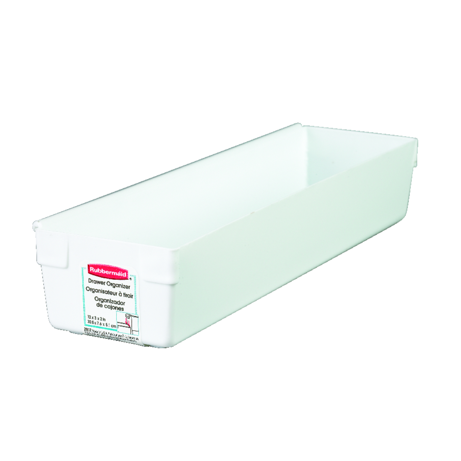 Rubbermaid  12 in. L x 3 in. W x 2 in. H Plastic  White  Drawer Organizer