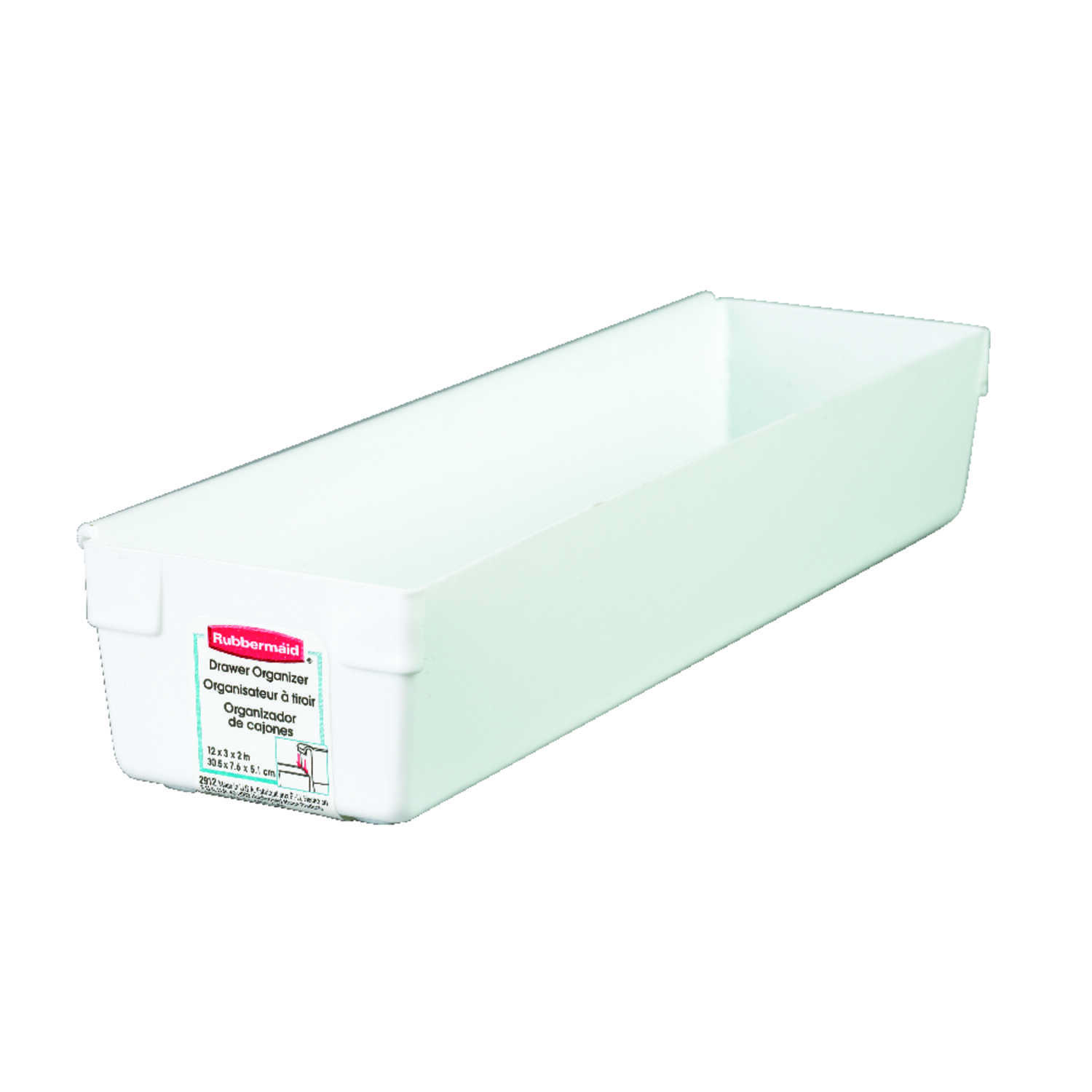 Rubbermaid  2 in. H x 3 in. W x 12 in. L White  Plastic  Drawer Organizer