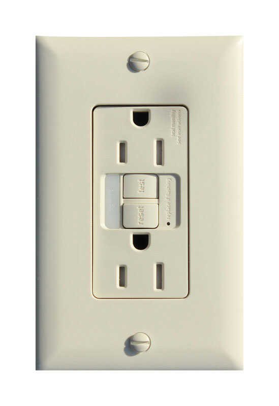 Pass & Seymour  15 amps 125 volt Light Almond  GFCI Outlet  5-15R  1 pk