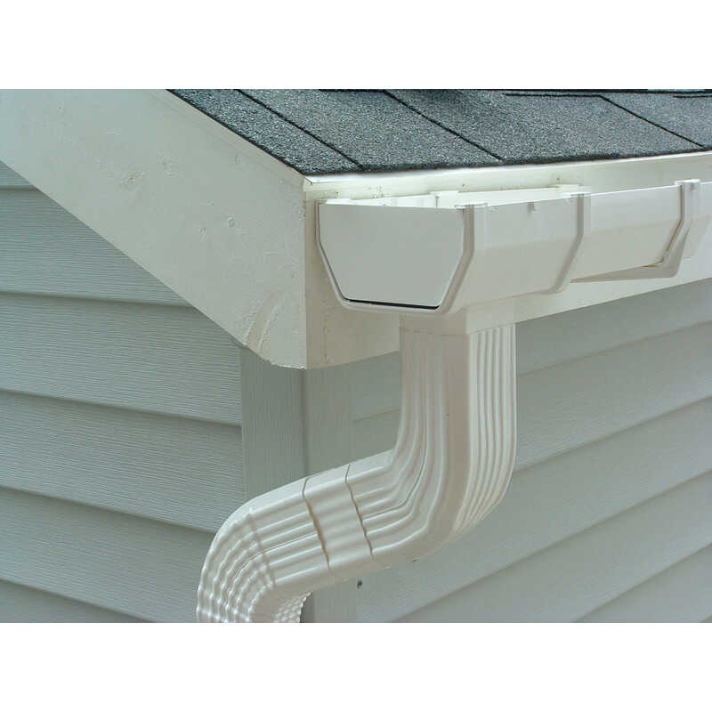 Genova  6 in. H x 3.2 in. W x 9.33 in. L White  Vinyl  K  Downspout Elbow