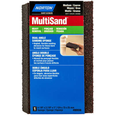 Norton MultiSand 4.875 in. L x 2.875 in. W x 1 in. 36/80 Grit Coarse/Medium Dual Angle Sanding