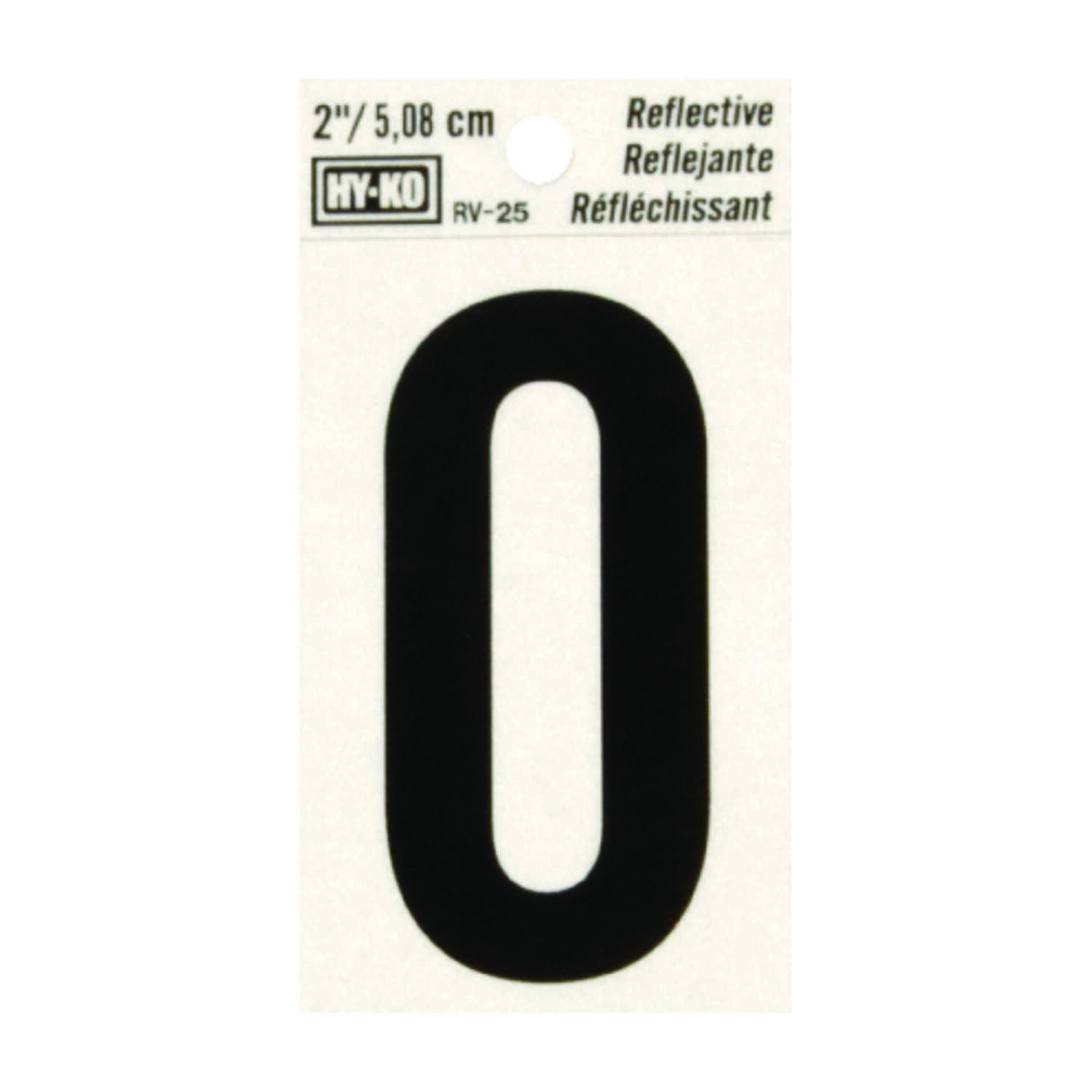 Hy-Ko  2 in. Reflective Vinyl  Letter  Self-Adhesive  O  Black