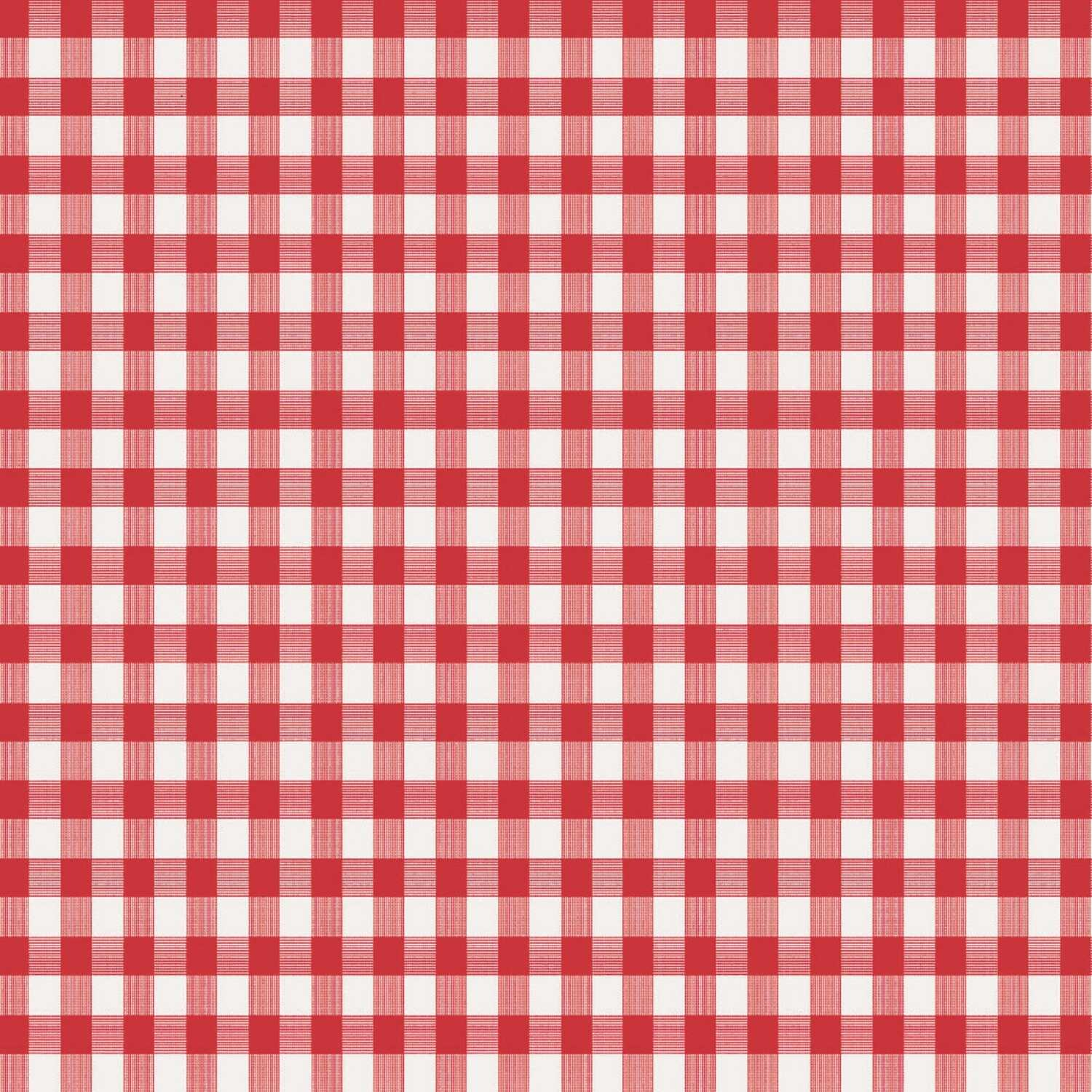 Magic Cover  Red/White Checkered  Plastic  Round Tablecloth