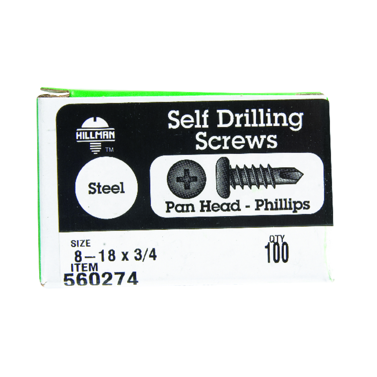 HILLMAN  8-18   x 3/4 in. L Phillips  Pan Head Steel  Self- Drilling Screws  100 per box Zinc-Plated