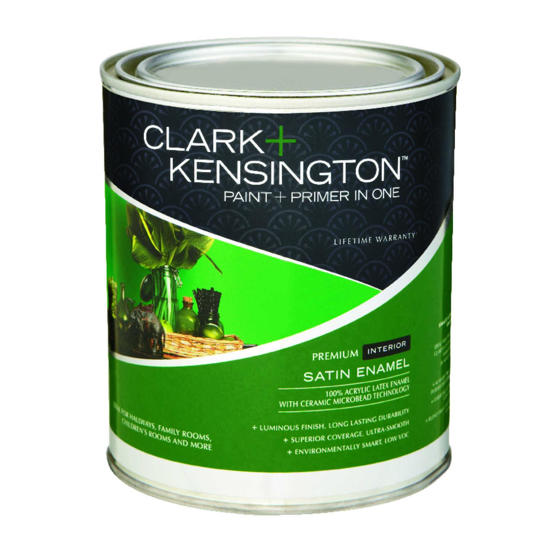 Clark kensington satin designer white acrylic latex paint and primer