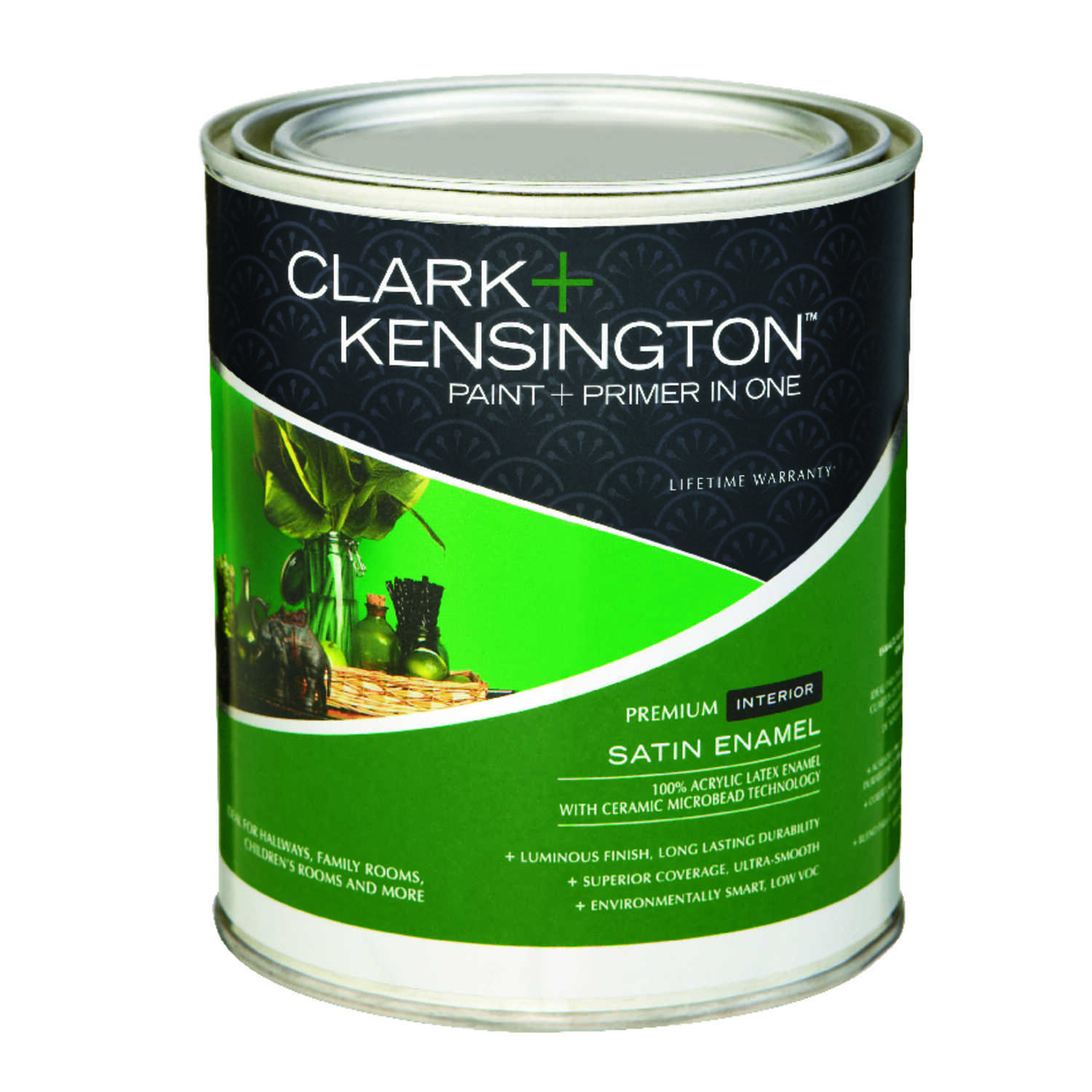 Clark+Kensington  Satin  Designer White  Acrylic Latex  Paint and Primer  1 qt.