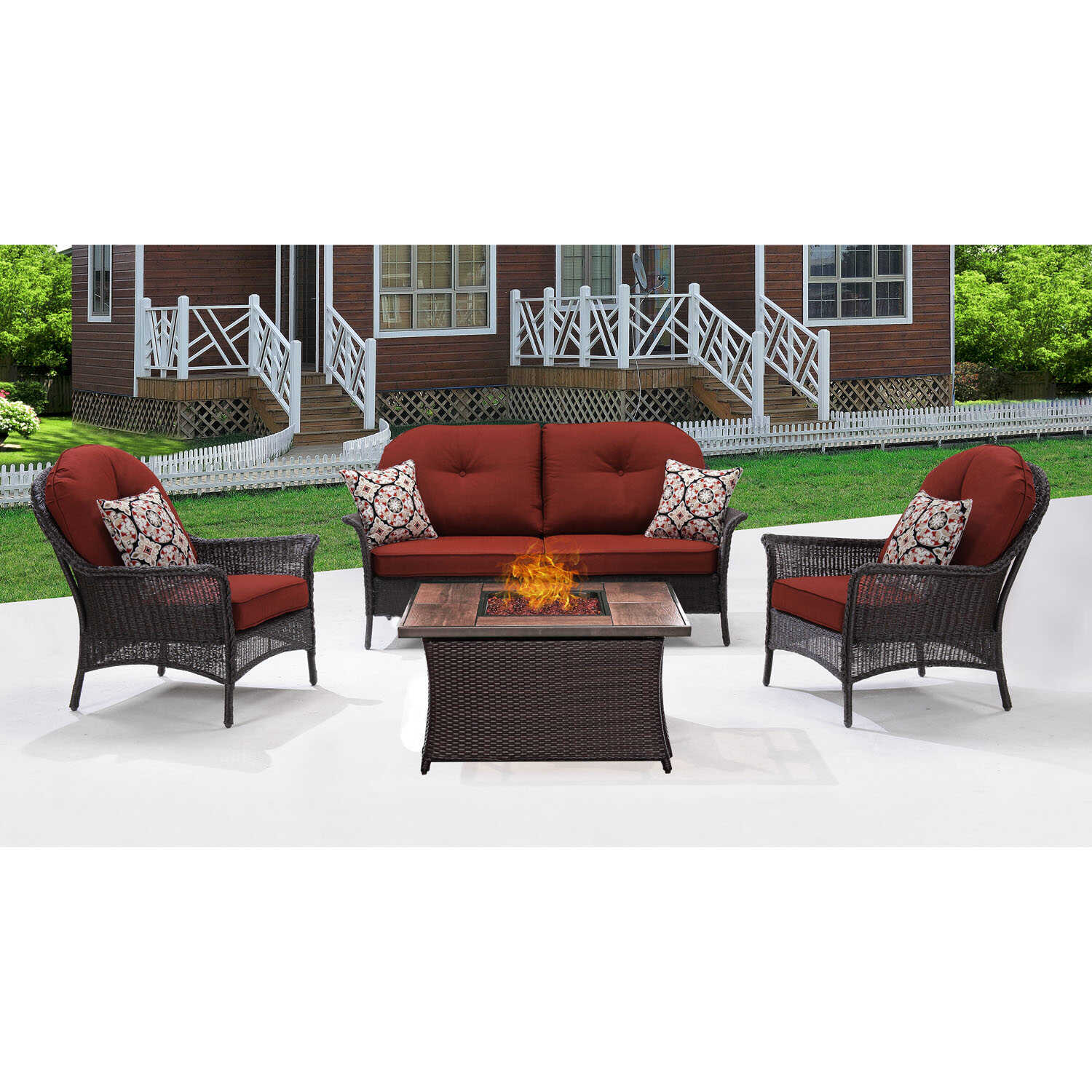 Hanover  San Marino  6 pc. Java  Steel  Firepit Set  Red