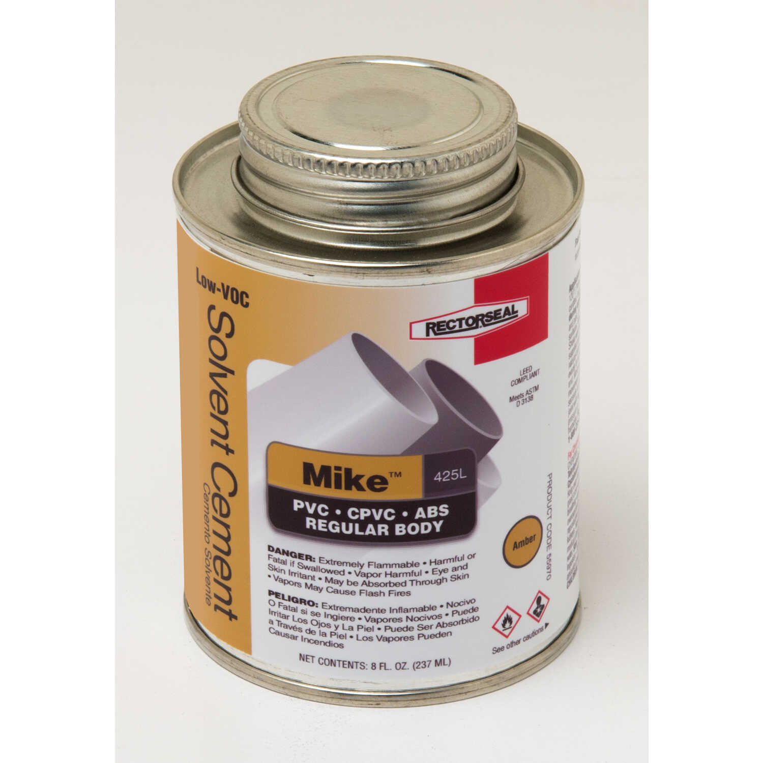 Rectorseal  Mike  Amber  Multi-Purpose Solvent Cement  For ABS/CPVC/PVC 8