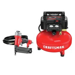 Craftsman 6 gal. Pancake Portable Brad Nailer and Air Compressor Combo Kit 150 psi 0.8 hp