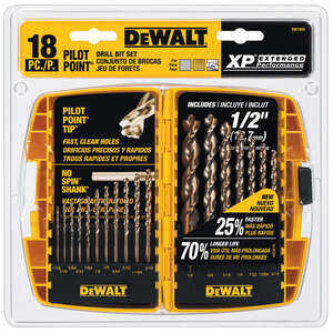 DeWalt  Pilot Point  Multi Size in. Dia. x Multiple  L Stainless Steel  Drill Bit Set  Straight Shan