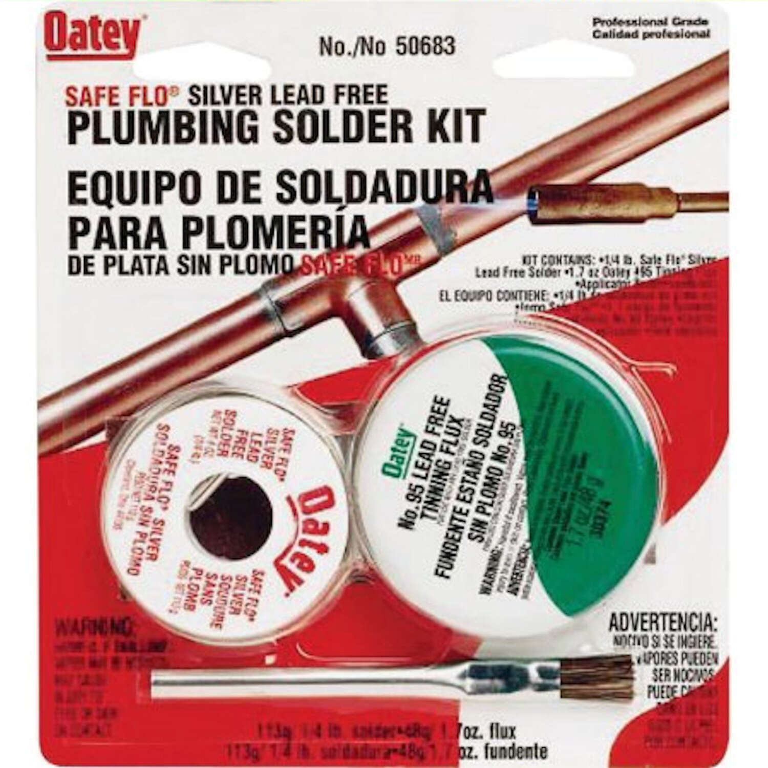 Oatey  Safe-Flo  8 oz. Lead-Free Plumbing Solder Kit  50/50  Silver Bearing  2 pc.
