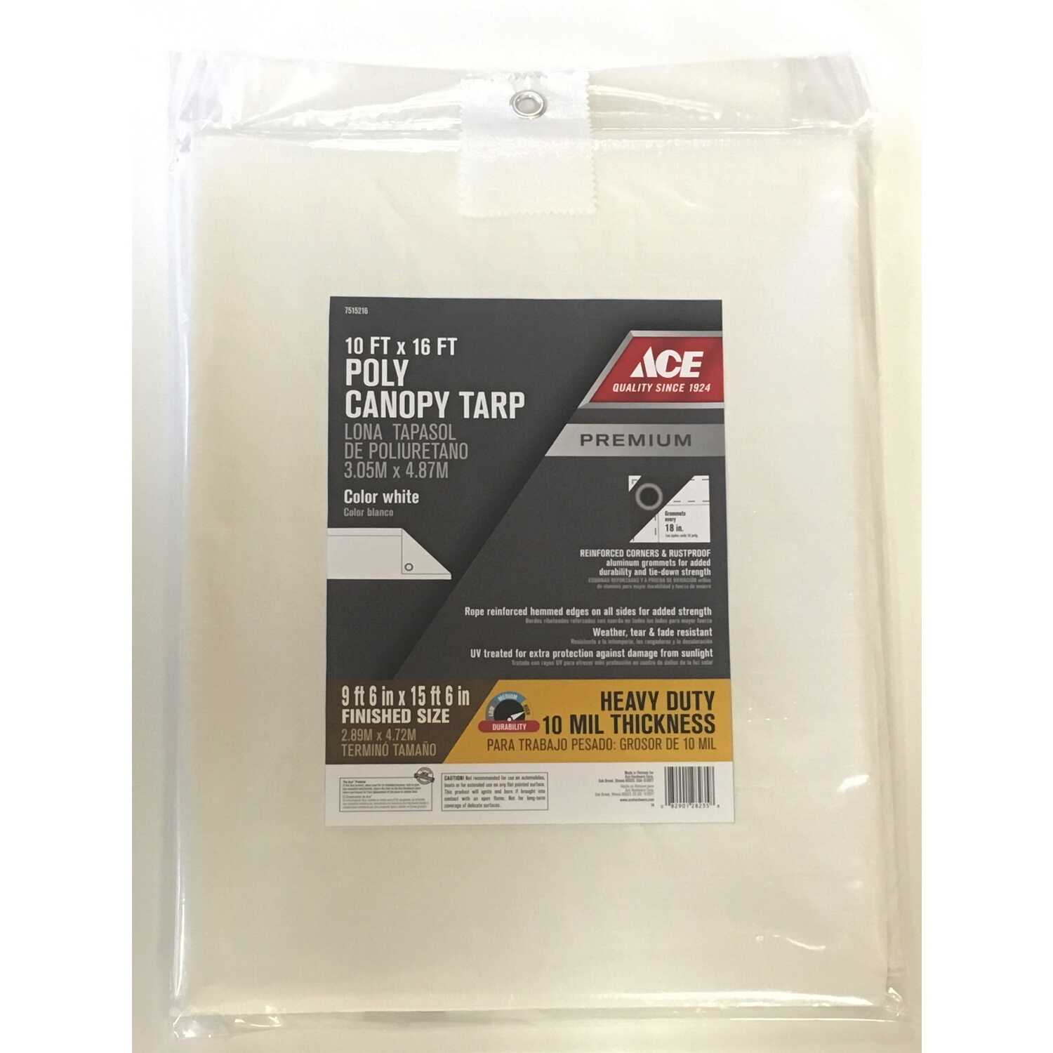 Ace  16 ft. W x 10 ft. L Heavy Duty  Polyethylene  Canopy Tarp  White