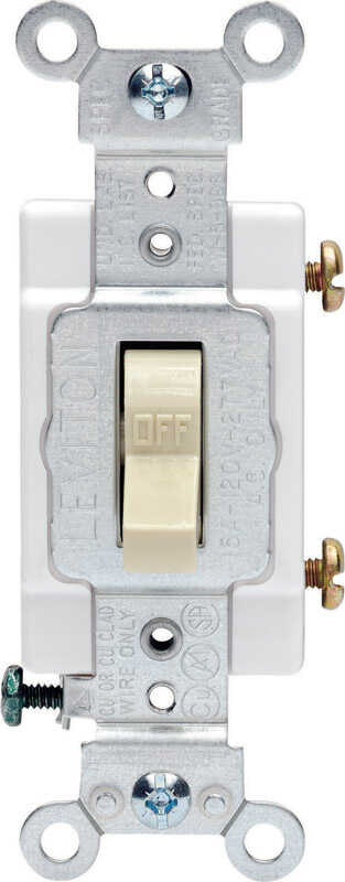 Leviton  Commercial  15 amps Toggle  Switch  Ivory  1 pk 15 amps