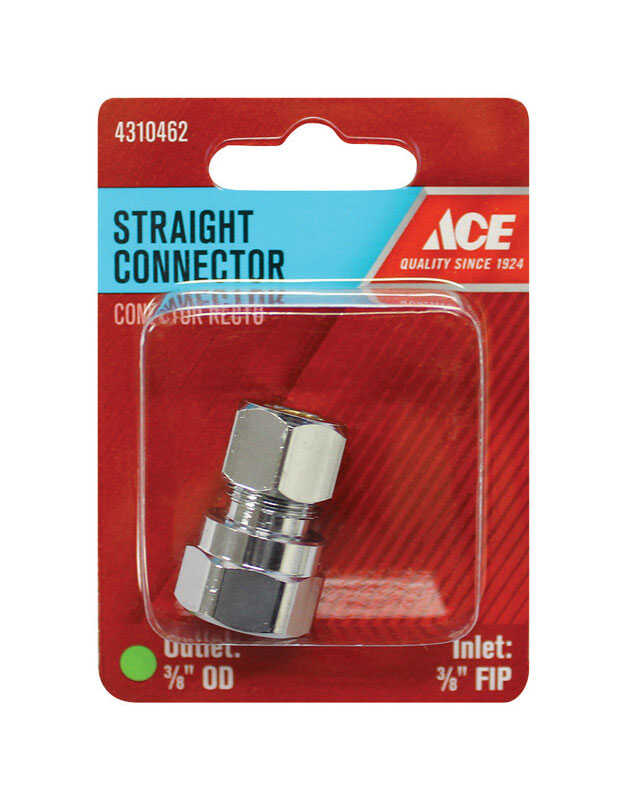Ace  3/8 in. FPT   x 3/8 in. Dia. Compression  Brass  Straight Connector