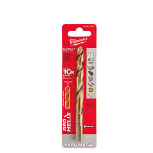 Milwaukee  RED HELIX  13/32 in. Dia. x 5-1/8 in. L Cobalt Steel  THUNDERBOLT  Drill Bit  1 pc.