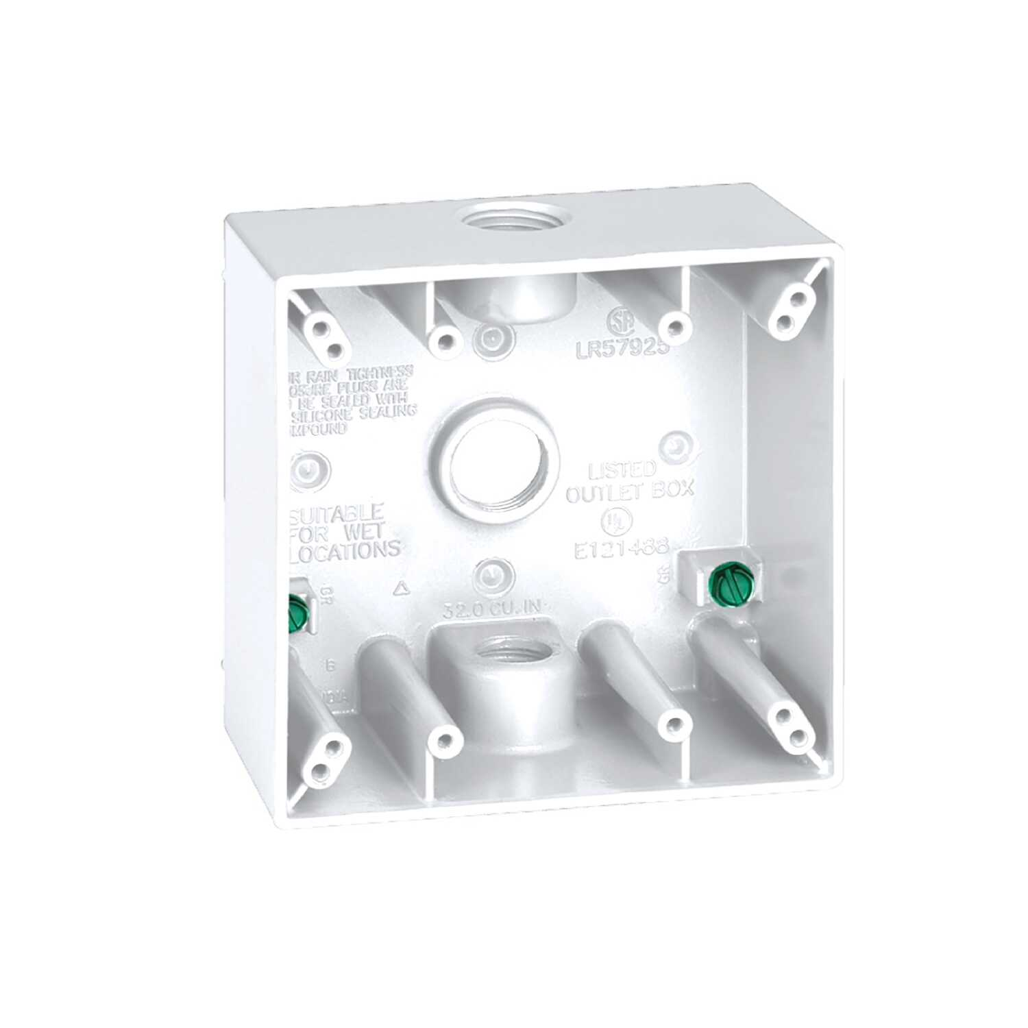 Sigma  4-1/2 in. Aluminum  2 gang Outlet Box  White  Square  2 Gang