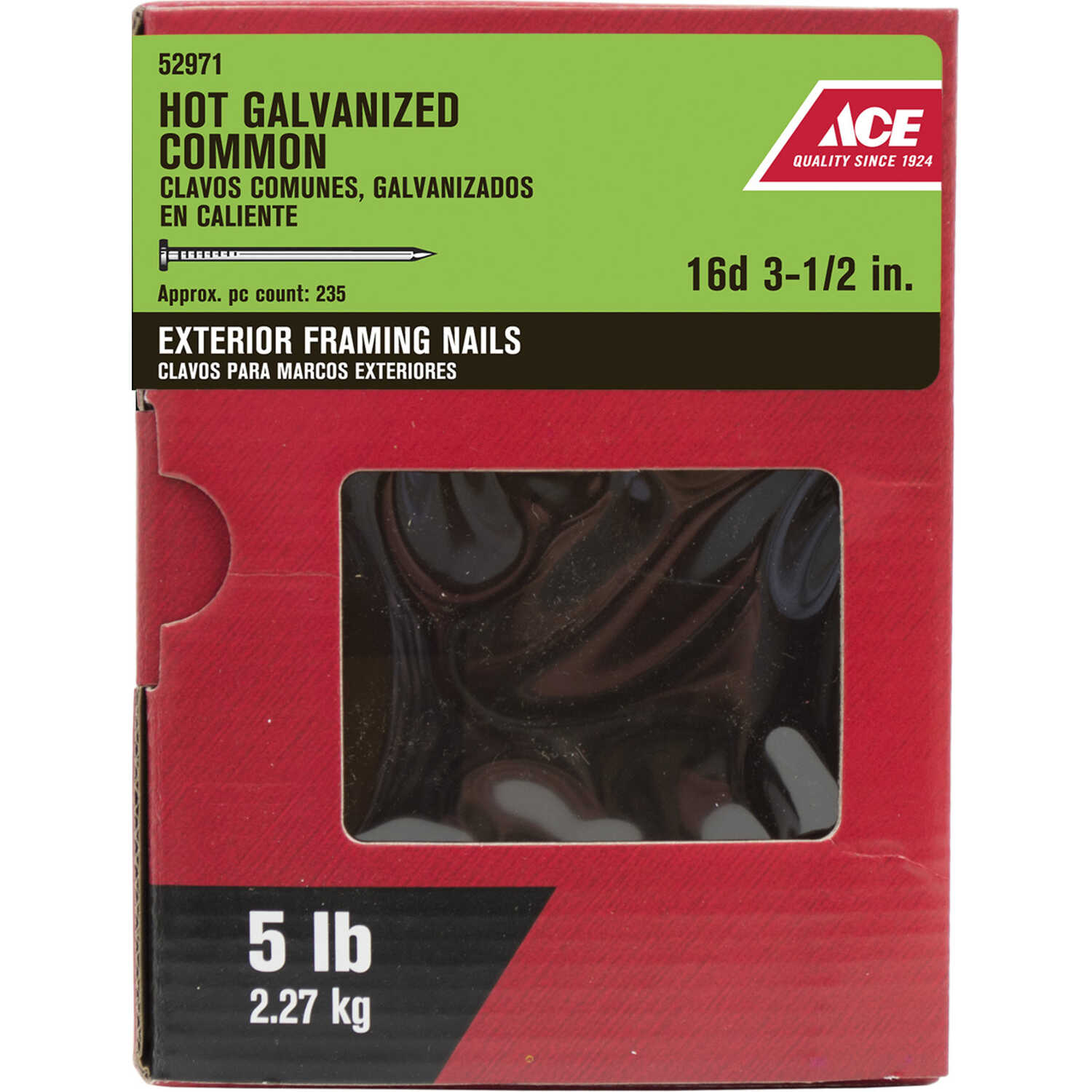 Ace  16D  3-1/2 in. L Common  Steel  Nail  Flat Head Smooth Shank  5 lb.