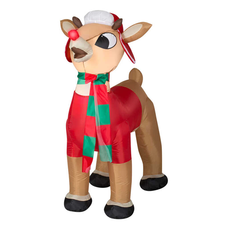 Gemmy  Small Rudolph with Winter Clothes  Christmas Inflatable  Fabric  1 pk