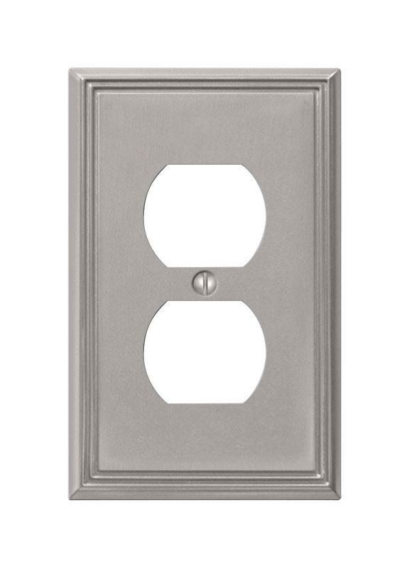 Amerelle  Metro  1 gang Die-Cast Metal  Duplex Outlet  Wall Plate  1 pk