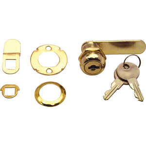 Prime-Line  Bright Brass  Gold  Steel  Cabinet/Drawer Lock