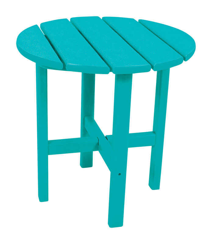 Ivy Terrace  Blue  Classic  Plastic  Round  End Table
