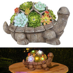 Alpine  Polyresin  Multi-color  7 in. Turtle with Flowers  Statue