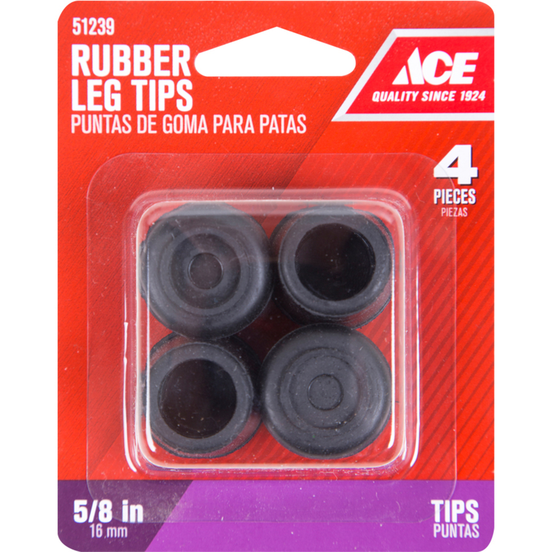 Ace Rubber Leg Tip Black Round 5/8 In.