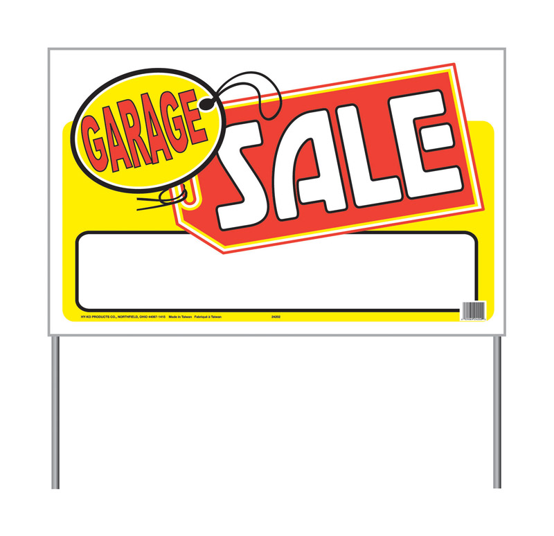 Hy-Ko  English  26 in. W x 16 in. H Sign  Plastic  Garage Sale