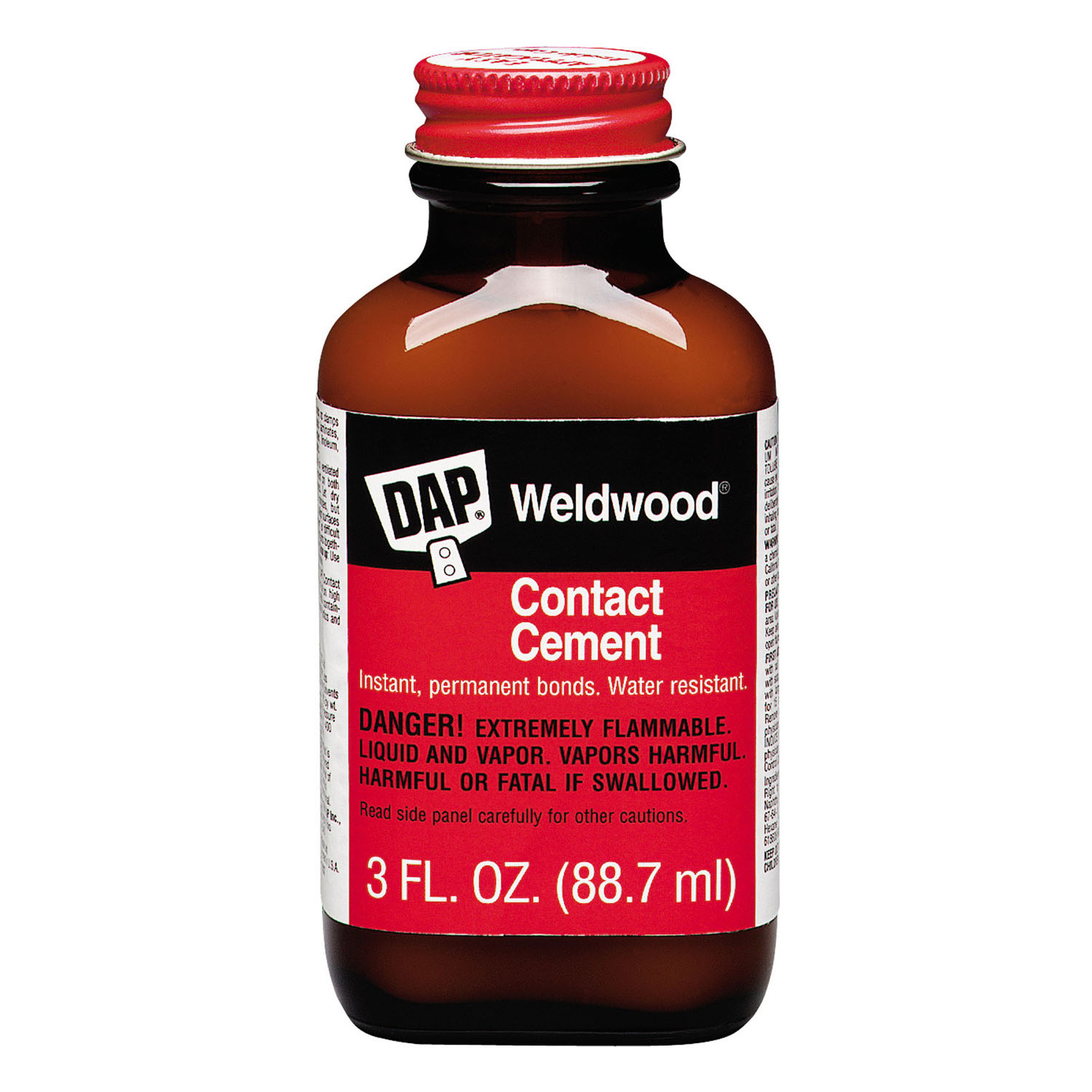 DAP Weldwood High Strength Rubber Contact Cement 3 oz. The Dap weld wood 3 fluid Oz. original contact cement is a multi-purpose neoprene rubber adhesive that forms an instant, high-strength bond on a variety of surfaces. This adhesive resists the effects of heat, water, weather, grease, oil and household chemicals.