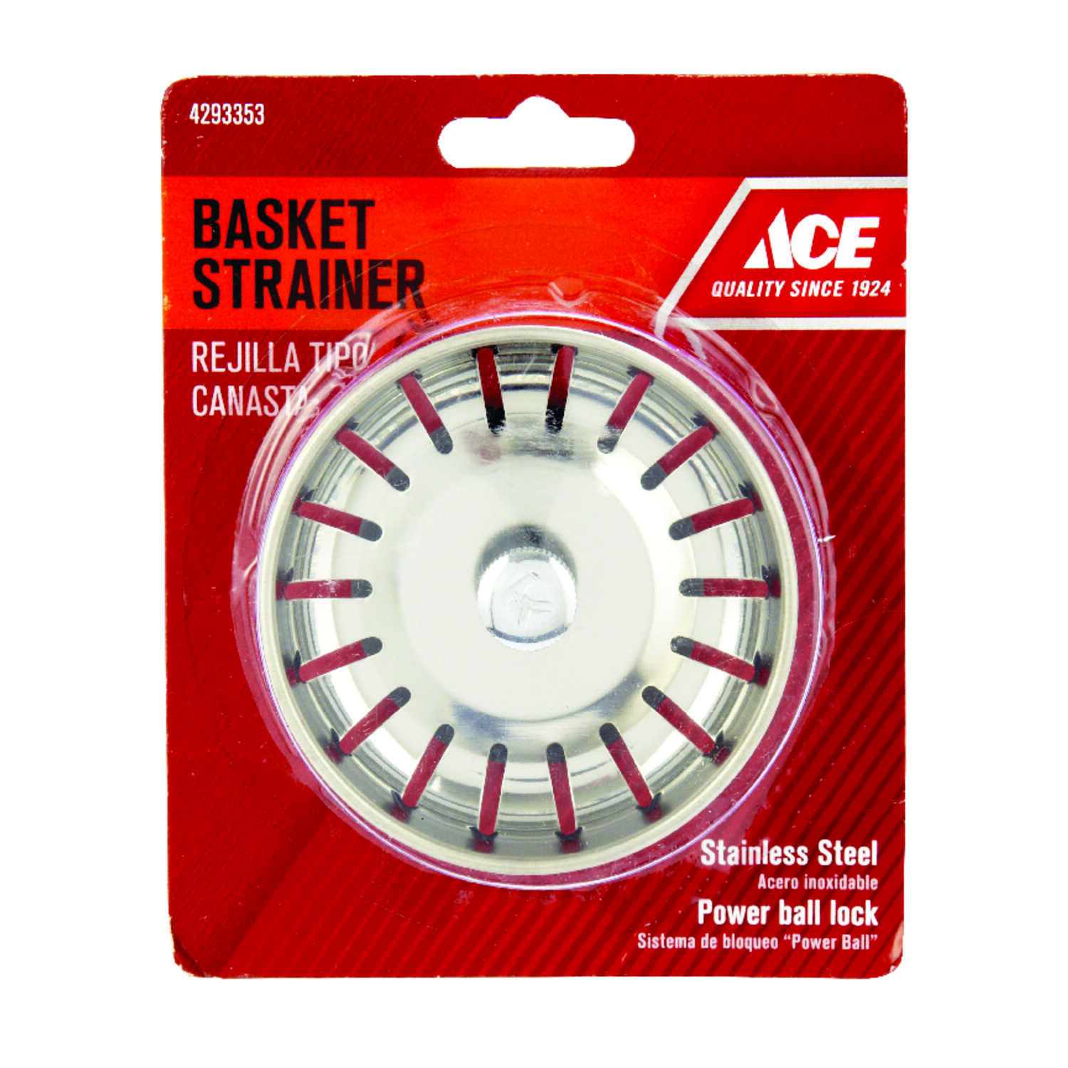 Ace  3 in. Dia. Chrome  Stainless Steel  Replacement Strainer Basket