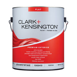 Clark+Kensington Flat Tint Base Ultra White Base Premium Paint Exterior 1 gal.