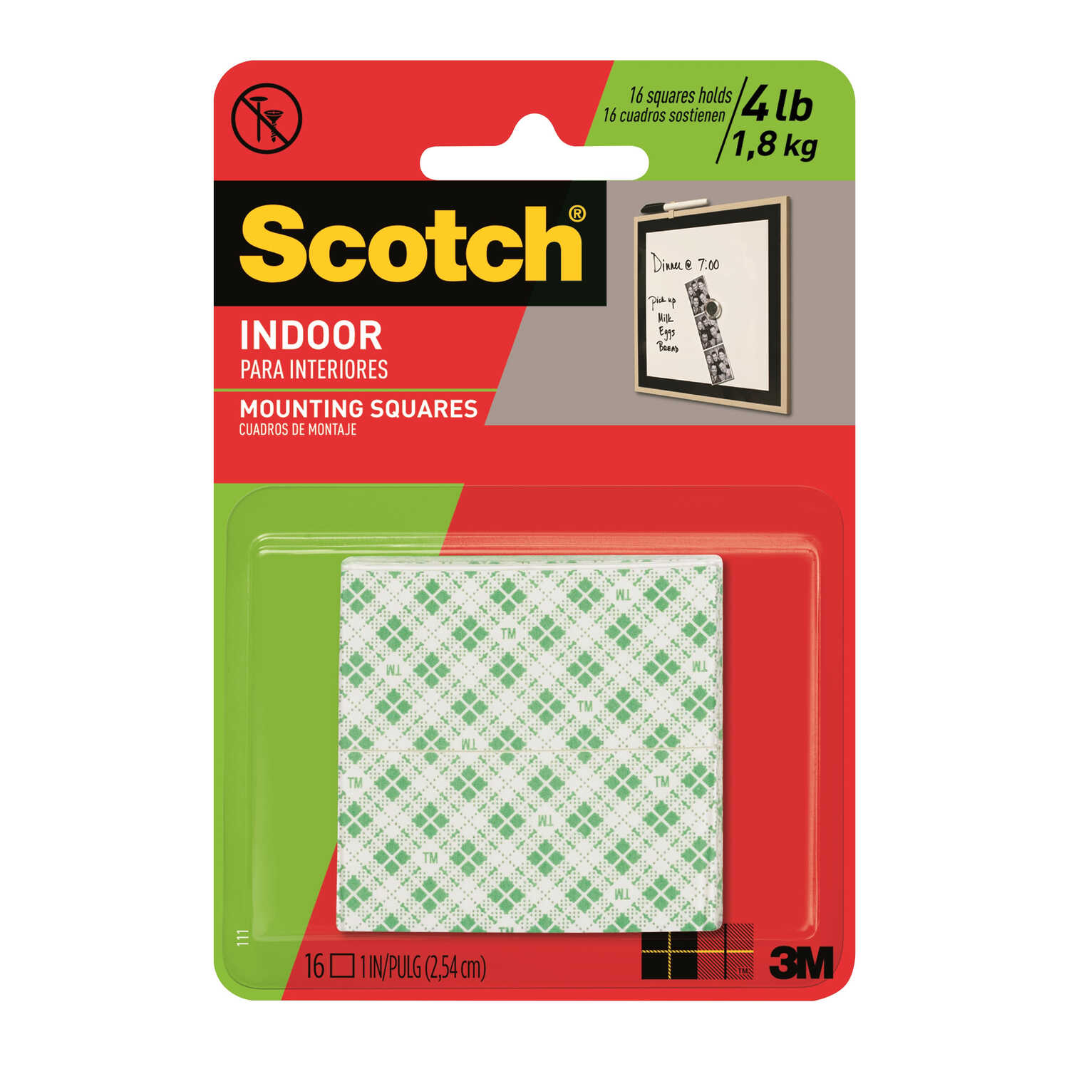 Scotch  1 in. W x 1 in. L Mounting Squares  White