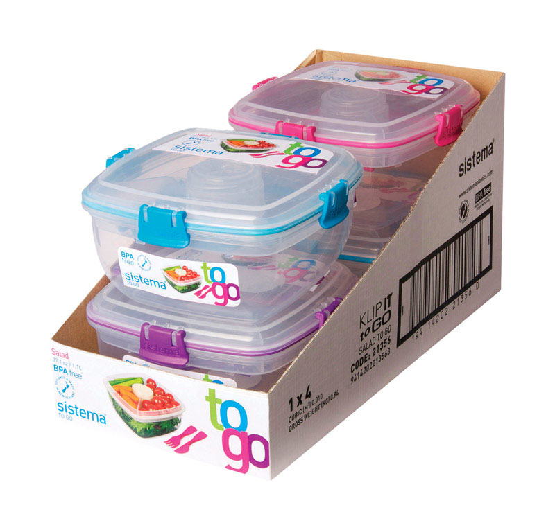 Sistema Salad Container Microwave/Freezer 4.5 cup  Assorted