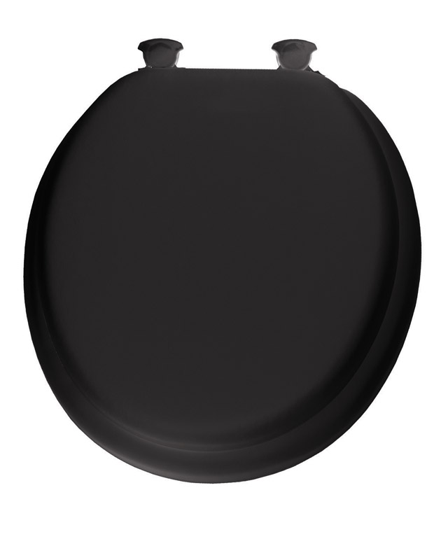 Mayfair  Round  Black  Vinyl  Cushioned Toilet Seat