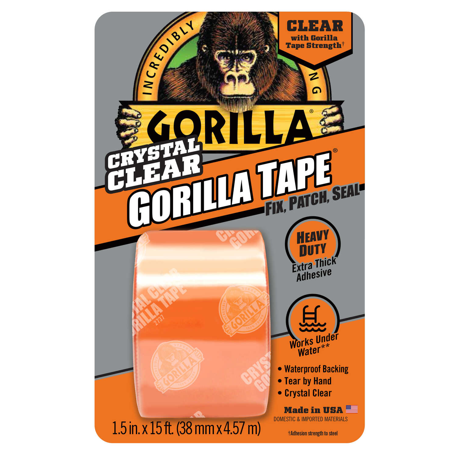 Gorilla  1.88 in. W x 180 in. L Tape  Clear